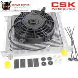 "Universal 34 Row 10An Engine Transmission Oil Cooler + 7"" Electric Fan Kit Sl"