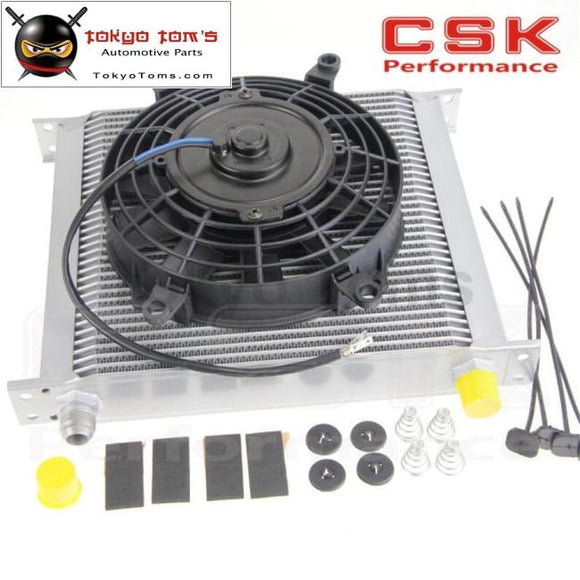 Universal 34 Row 10An Engine Transmission Oil Cooler + 7 Electric Fan Kit Sl