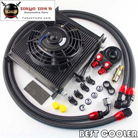 Universal 34 Row Engine Transmission 10An Oil Cooler Kit+ 7 Electric Fan Kit Black
