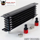 Universal 7 Row An10 Engine Transmission Trust Oil Cooler + 2Pcs Fittings Black