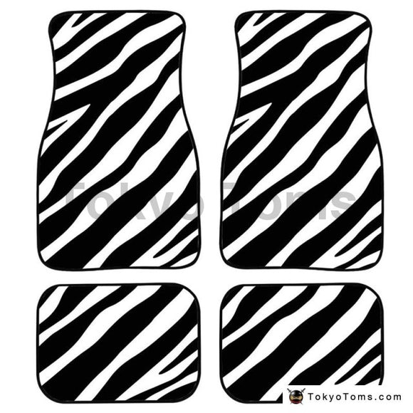 Universal Car Foot Mats Zebra Stripe - White