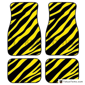 Universal Car Foot Mats Zebra Stripe - Yellow