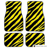 Custom Universal Car Foor Mats Zebra Stripe - Yellow