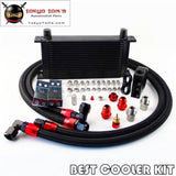 Universal New-Style An10 19 Row Oil Cooler + Thermostat Sandwich Plate Kit Bk Oil Cooler
