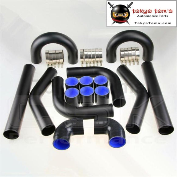 Universal Turbo Boost Intercooler Pipe Kit 2.25 57Mm 8 Pcs Aluminum Piping Bk Black Piping