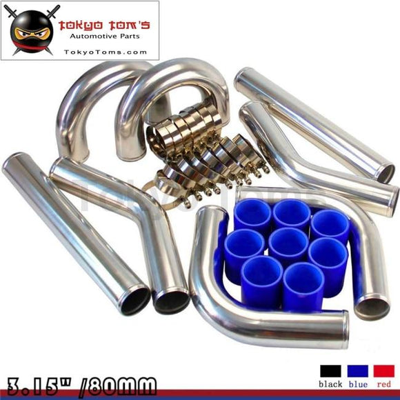 Universal Turbo Boost Intercooler Pipe Kit 3.15 80Mm 8Pcs Piping L= 450Mm Bl Aluminum Piping