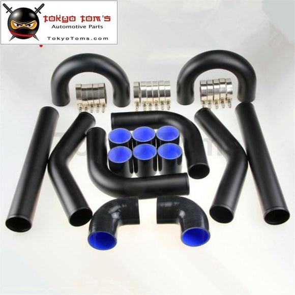 Universal Turbo Boost Intercooler Pipe Kit 3 76Mm 8 Pcs Aluminum Piping Black Piping