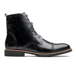 Casual Brogue Medallion Pointed Toe Genuine Leather Martin Boots Black
