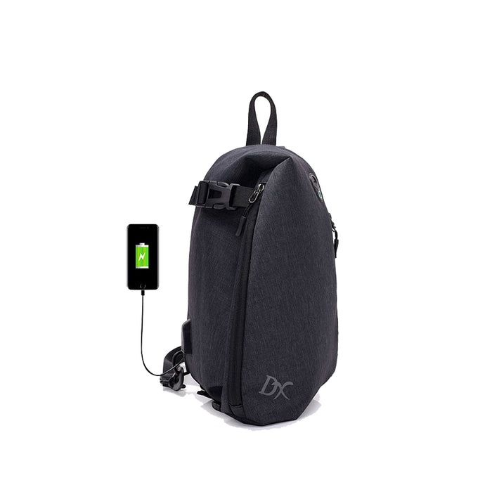 Outdoor Wearable Pure Color USB Charging Canvas Men Messenger Shoulder Crossbody Bag