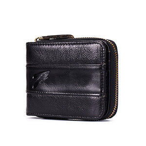 Anti-theft RFID Protected Genuine Calf Leather Coin Wallet Multi Card Slot Purse