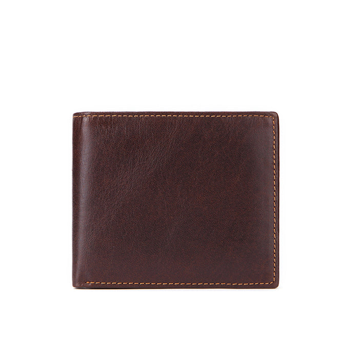 Anti-theft RFID Protected Pure Color Oil Wax Calf Leather Coin Wallet Card Slot Purse