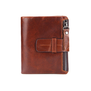 Notebook Shape Genuine Calf Leather Wallet Buckle Coin Pocket Credit Card Holder Purse