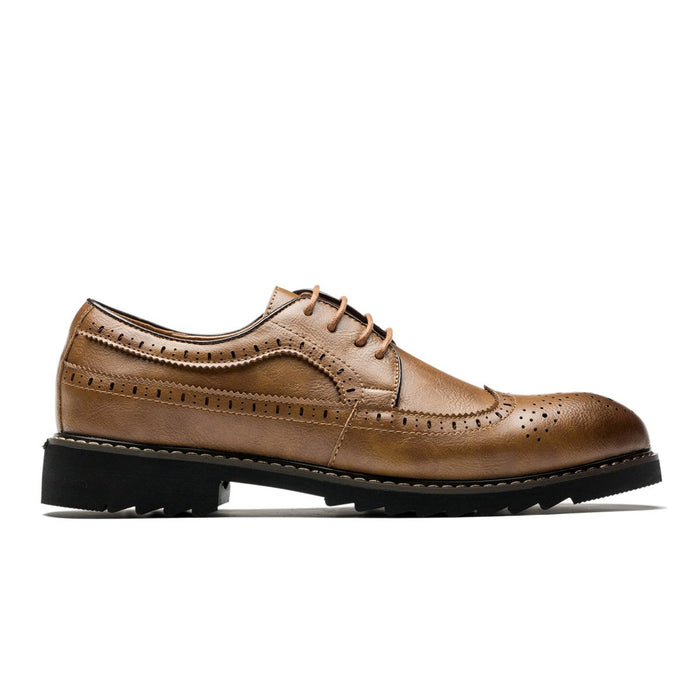 Simple Derby Brogue Pointed Toe Grade A Leather Shoes