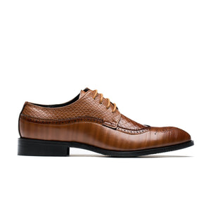 Derby Brogue Snakeskin Grain Pointed Toe Grade A Leather Shoes