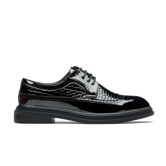 Derby Brogue Medallion Alligator Pattern Pointed Toe Grade A Leather Shoes Bright Black