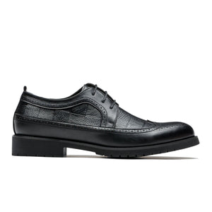 Derby Brogue Medallion Latticed Pattern Pointed Toe Grade A Leather Shoes