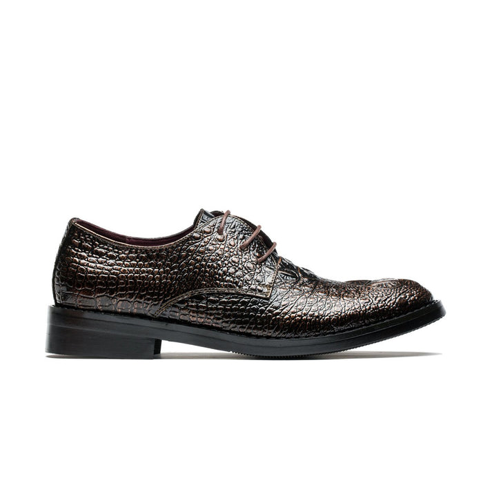 Derby Alligator Pattern Pointed Toe Grade A Leather Shoes