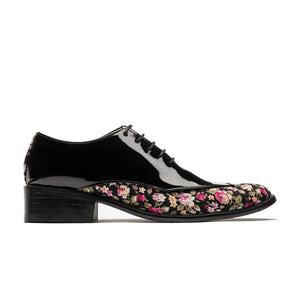 Oxford Flower Pattern Bottom Pointed Toe Grade A Leather Shoes