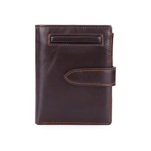 Anti-theft RFID Protected Real Calfskin Wallet Buckle Coin Pocket Credit Card Holder Purse
