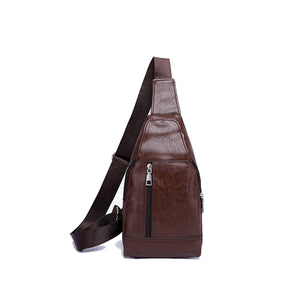 Multi Functional Men's Chest Bag Genuine Leather Shoulder Messenger Crossbody Bag