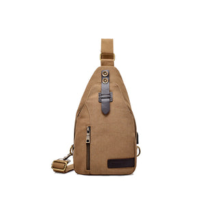 Military USB Charging Canvas Male Shoulder Messenger Chest Back Pack Crossbody Bag