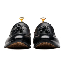 Breathable Tassels Slip On Pointed Toe Genuine Leather Shoes Loafers Black