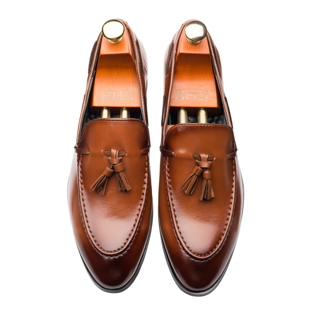 Breathable Tassels Slip On Pointed Toe Genuine Leather Shoes Loafers Brown