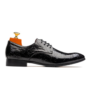 Derby Embossing Clouds Pattern Pointed Toe Genuine Leather Shoes Black
