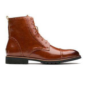 Casual Brogue Medallion Pointed Toe Genuine Leather Martin Boots Brown