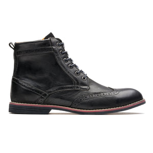 Skidproof Brogue Medallion Pointed Toe Cowhide Leather Martin Boots Black