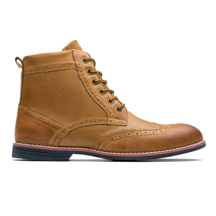Skidproof Brogue Medallion Pointed Toe Cowhide Leather Martin Boots Brown