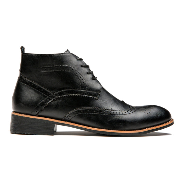 British Style Brogue Medallion Pointed Toe Genuine Leather Martin Boots Black