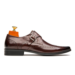 Luxury Monk Straps Brogue Pointed Toe Cowskin Leather Shoes Coffee