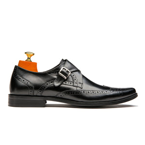 Luxury Monk Straps Brogue Pointed Toe Cowskin Leather Shoes Black
