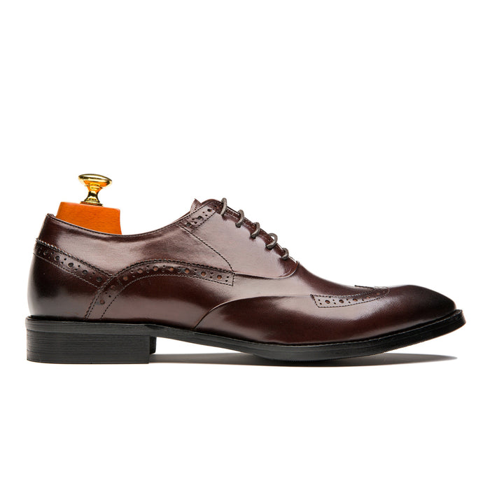 Luxury Oxford Brogue Medallion Pointed Toe Calfskin Leather Shoes Coffee