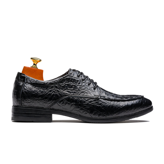 Casual Derby Alligator Pattern Pointed Toe Cowskin Leather Shoes Black