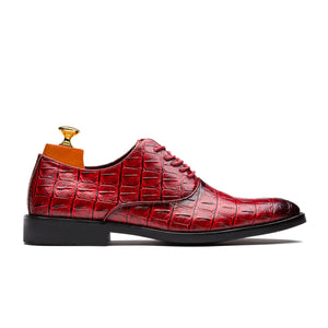 Uniform Style Oxford Alligator Pattern Pointed Toe Genuine Leather Shoes Red