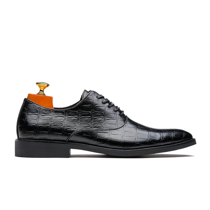 Uniform Style Oxford Alligator Pattern Pointed Toe Genuine Leather Shoes Black