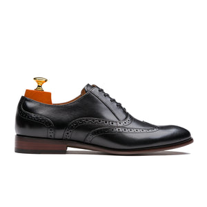 Luxury Oxford Hollow Out Brogue Pointed Toe Calfskin Leather Shoes Black