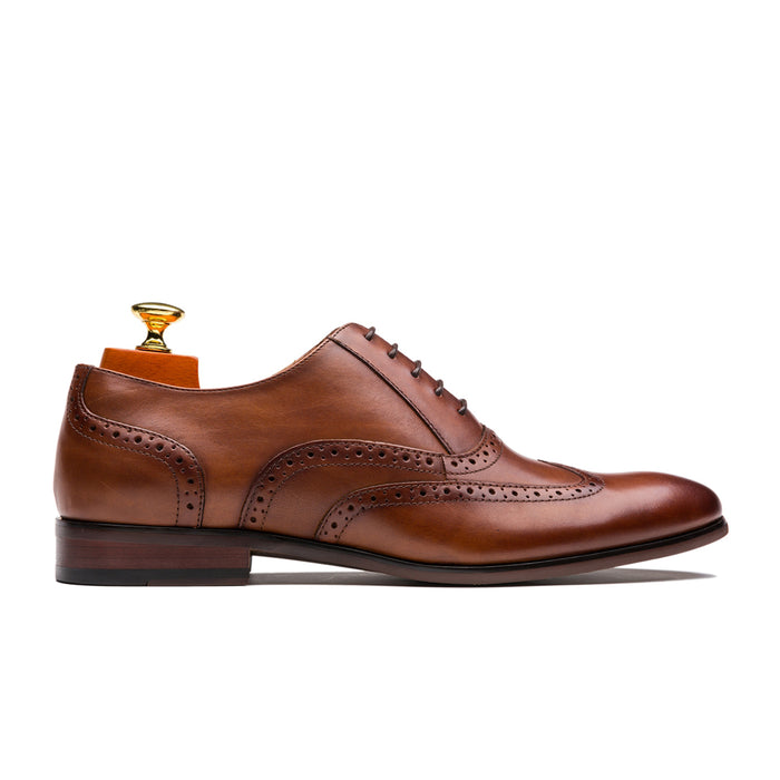 Luxury Oxford Hollow Out Brogue Pointed Toe Calfskin Leather Shoes Brown