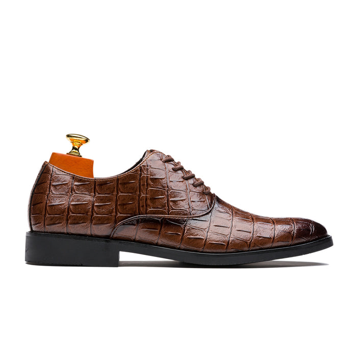 Uniform Style Oxford Alligator Pattern Pointed Toe Genuine Leather Shoes Brown