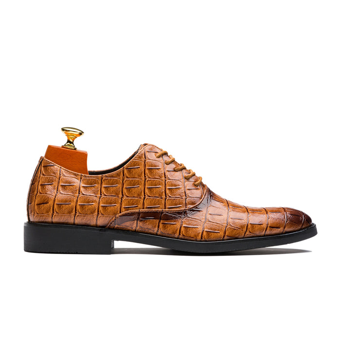 Uniform Style Oxford Alligator Pattern Pointed Toe Genuine Leather Shoes Yellow