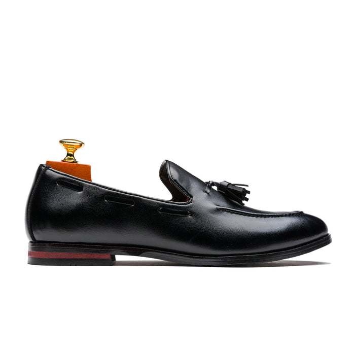Wearproof Tassels Slip On Pointed Toe Genuine Leather Shoes Loafers Black