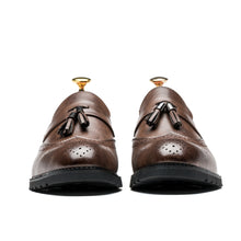 Slip On Brogue Tassels Medallion Pointed Toe Grade A Leather Shoes Loafers