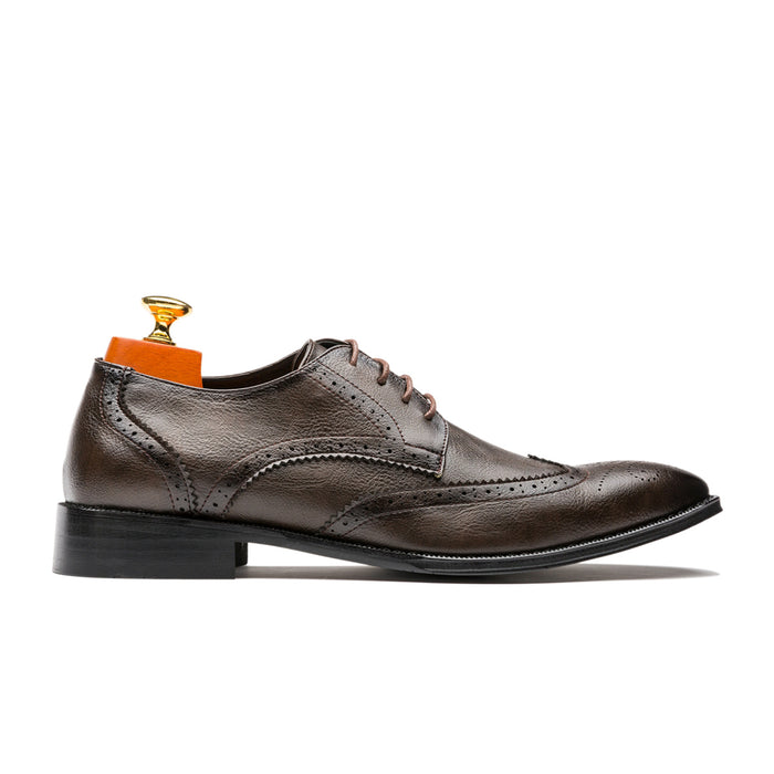 Derby British Style Pointed Toe Genuine Leather Shoes Brown