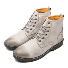 British Style Round Toe Genuine Leather Martin Boots Grey