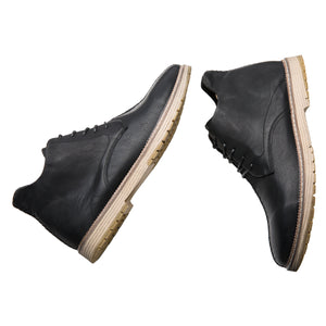 Stylish Patchwork Pointed Toe Genuine Leather Martin Boots Black