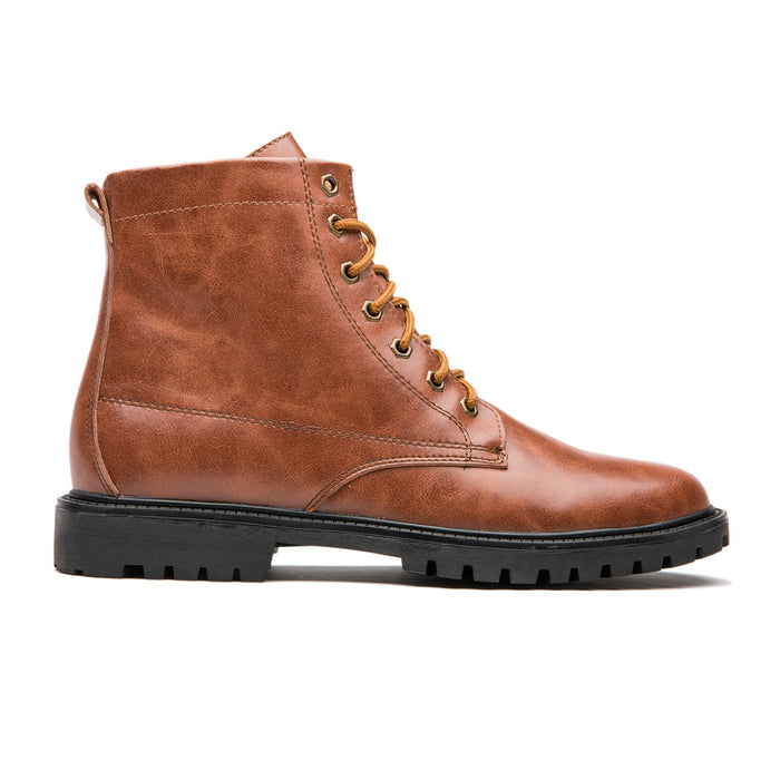 Antiskid Round Toe Calfskin Leather Martin Boots Brown