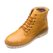 Vintage Round Toe Genuine Leather Martin Boots Yellow