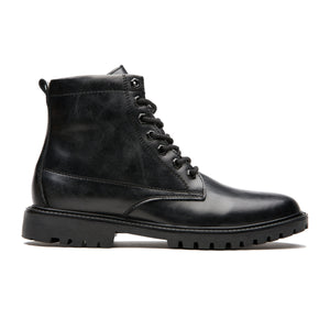 Antiskid Round Toe Calfskin Leather Martin Boots Black